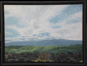 Moana Loa from Kilauea Lava Field in black frame