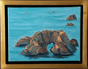 Linda Sorensen Arch Rock Calm with gold faced floater frame