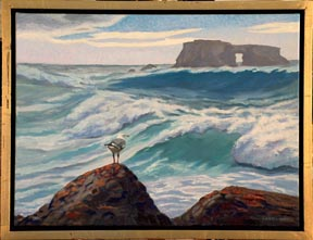 Linda Sorensen Arched Rock from Goat Rock with black and gold floater frame