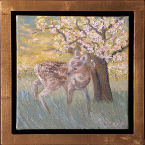 Linda Sorensen Fawn with gold faced floater frame