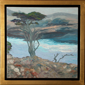 Linda Sorensen Foggy Cove Cypress with gold faced floater frame