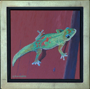 Linda Sorensen Gecko on my Fence with Gold Faced Floater Frame