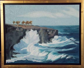 Lava Cliffs Spray Linda Sorensen with gold faced floater frame